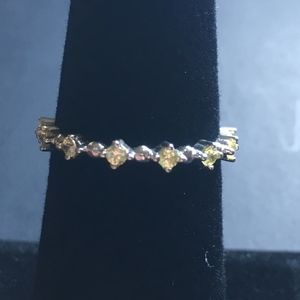 Sterling Silver Yellow CZ Eternity Band Ring 6